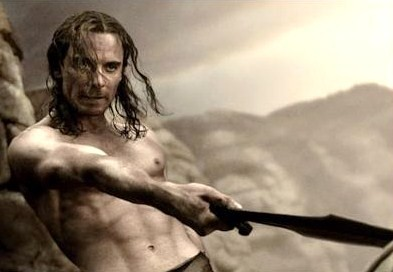 Michael Fassbender shirtless in 300